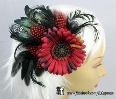 Steampunk Flower and Feather Hair Fascinator by LittleShopOfLostArts
