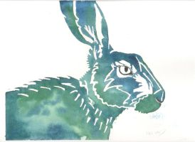 Blue and Green Hare by SuicideNeil