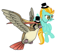 Pidgeot and Lightning Dust Go British Day 33 by DrLonePony