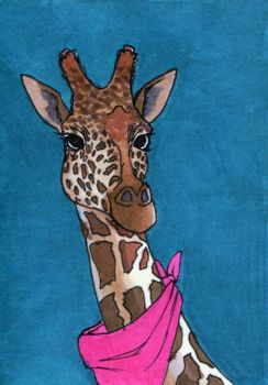 Giraffe ATC by bruisedhound