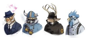 Furry TF2 portraits by Kethavel