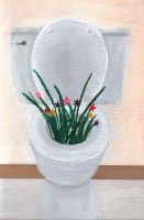 Toilet with flowers by violetice