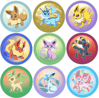 Eeveelution buttons by iveechan-art