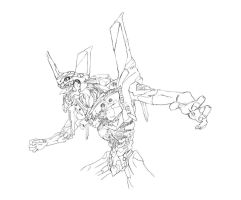 Eva unit 01 line art by r7ll