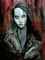 Marilyn Manson Watercolors by Dark4Light