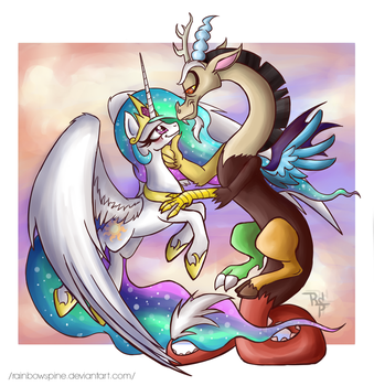 Discord and Celestia by RainbowSpine