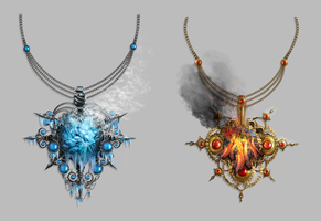 Fire and Ice Amulets by JeanRoux