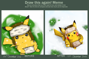 Meme: Pikachu in the snow [before and after] by DaniiRoo