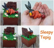 Sleepy Tepig Sculpture by SilkenCat