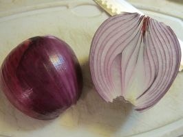 Halved Red Candy Onion by Windthin