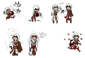 Ezio chibis by DelasShadow