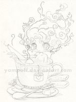 Tea Chibi Commish - Sketch by YamPuff