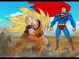 Goku vs. Superman by delvallejoel