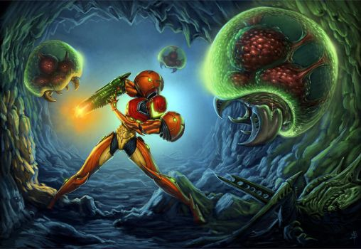 Samus v Metroids by rob-powell