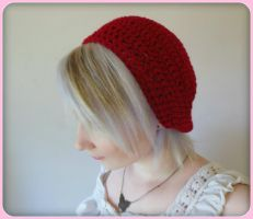 Maroon colored crochet Beret by Ashler-Sauce