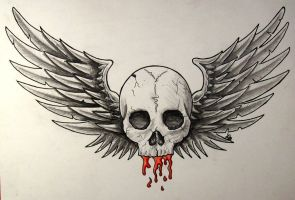 Winged skull by crazyxav