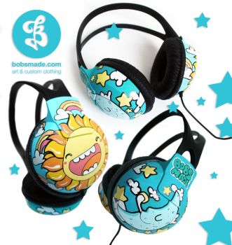 Sun and Moon Headphones by Bobsmade