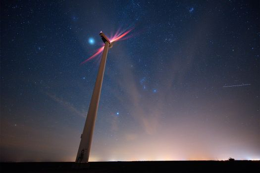 The Wind Turbine and the Stars by Jean-Baptiste-Faure