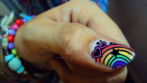 rainbow nails by PINK-AL