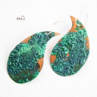 Green Patina Copper Paisley Earrings by IoannaEvans