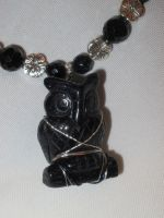 Blue Goldstone Owl Necklace Closeup 1 by Windthin