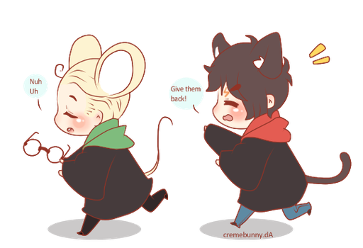 Chibi Drarry - Cat and Mouse by Cremebunny