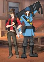 TF2: Sniper and Soldier by Bielek