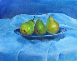 Three Pears in a Plate by tynafish