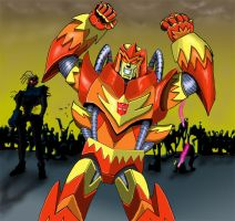 Autobot Flame and Zombie army by Mr-Alexander