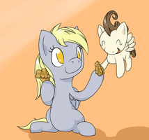 Derpy sharing a muffin with Pound Cake by thepiplup