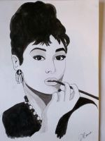 Audrey Hepburn in Ink by DavidMunroeArt