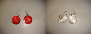 Look at front and back of my red seashell earrings by Magic-Kristina-KW