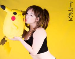 Erika A.K.A The Gamer Girl and Pikachu by Kitty-Honey