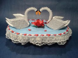 3-D Origami Wedding Swans by pandanpandan