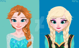 Elsa and Anna Costume change by KimGoma