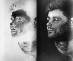 Jensen Ackles inverted drawing by TrixiBebe