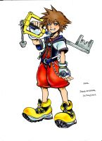 Sora Kingdom Hearts Drawing- coloured by Photoshop by DianaKristina