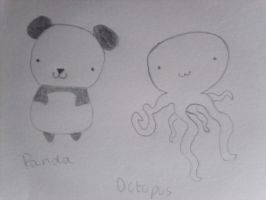 Chibi Panda and Octopus by Landras