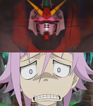 Crona is scared of the Dark gundam by ninjakingofhearts