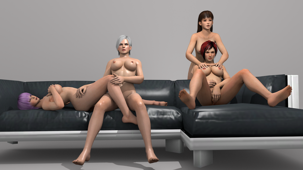 Couch Session Lei Fang, Mila, Ayane and Christie 2 by vamp3003