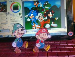 mario y luigi en mi pc by marshie-chan