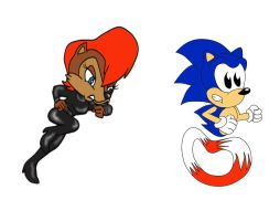 Alicia and Sonic: Get back here Blue Boy by ClassicSonicSatAm