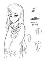 Pencil Brush Sketch by Inkintime