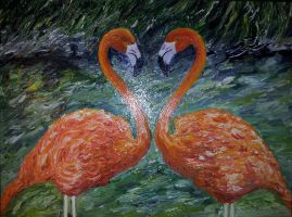 heart of flamingos by rikarty