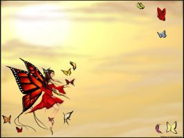Butterfly Dance Wallpaper by TheDeathSpiralli