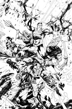 Justice League #25 -Ink by Raapack