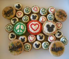 Peace, Love, Mickey Cupcakes by iliketodoodle