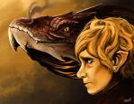 Bilbo and Smaug by MBrainspaz