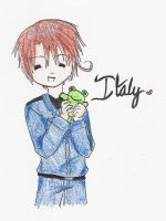 Chibi Italy and a plushie by High-on-happiness