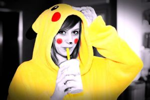 Me as pikachu, bubble tea shoot by Littlemate